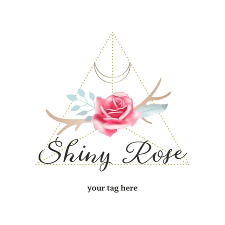 Bohemian rose and antlers, vector logo, feminine branding, emblem. Vintage boho chic style