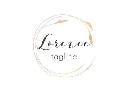 Premade golden logo design with minimalistic floral design. Feminine logotype template in elegant artistic style Ilustração