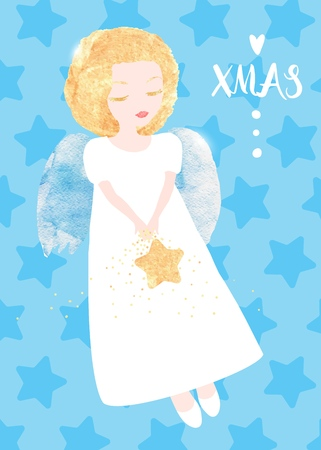 Christmas Angel greeting card. Cute little Angel with a golden star. Watercolor textures, original vector illustration
