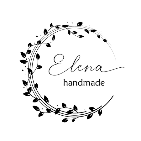 Premade logo design with floral wreath. Tree branches and leaves. Feminine logotype template Ilustração