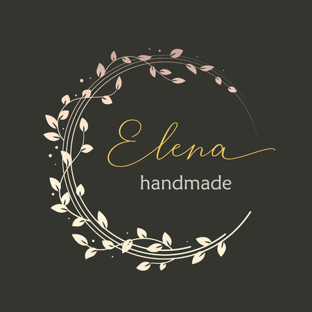Premade logo design with golden floral wreath. Tree branches and leaves. Feminine logotype template Ilustração