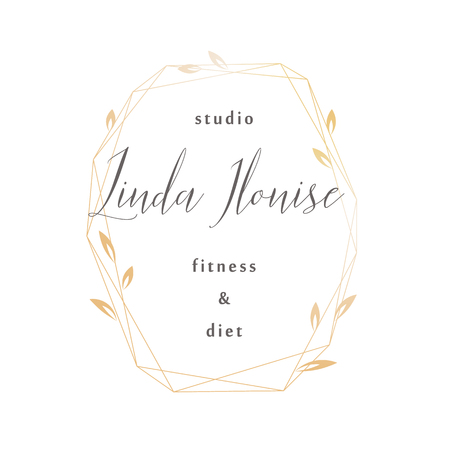 Premade logo design with crystal frame and leaves. Feminine logotype template