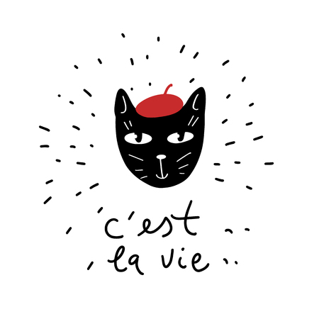 Cute black cat illustration in doodle style. French text means This is life. Archivio Fotografico - 124652097