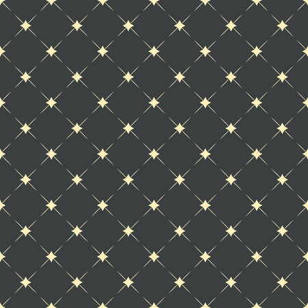 Seamless pattern, fashion geometric background. Golden stars with diagonal lines on dark grey backdrop