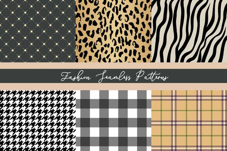 Set of trendy fashion seamless patterns collection, leopard, zebra, plaid, diamond, houndstooth and gingham Illusztráció