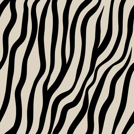 Zebra seamless pattern. Black hand drawn stripes on a beige background. Archivio Fotografico - 124004121