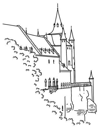Medieval castle in Segovia, Spain. Hand-drawn in outline graphic style. Illusztráció