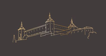 Medieval castle in Toledo, Spain. Hand-drawn in outline graphic style