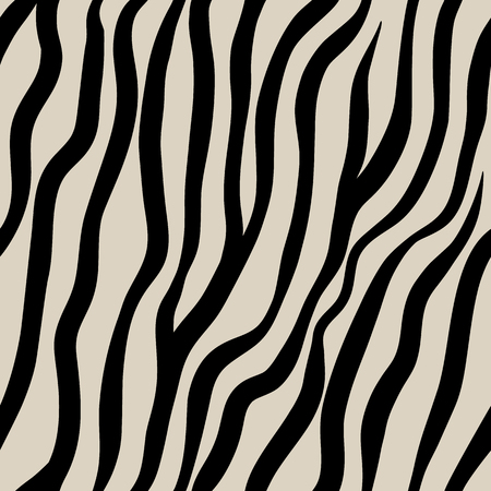 Zebra seamless pattern. Black hand drawn stripes on a beige background.