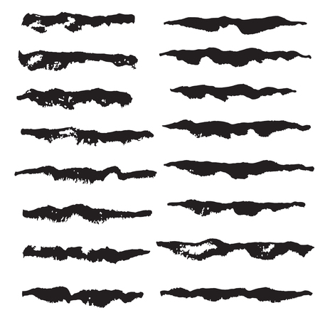 Set of artistic ink brushes. Hand drawn grunge strokes.