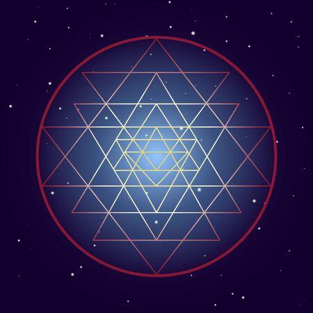 Shri Yantra chakra symbol, cosmic mystical diagram with stars on dark background. Sacred geometry illustration