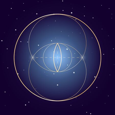 Vesica Piscis symbol of sacred geometry, vector element for design  イラスト・ベクター素材