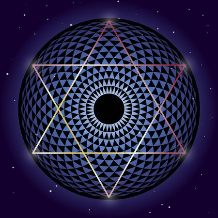 David Star and Torus Yantra sacred geometry elements Vector Illustration