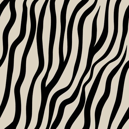 Zebra seamless pattern. Black hand drawn stripes on a beige background Illusztráció