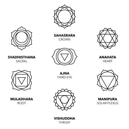 Seven Chakras Icons, simple black graphic set