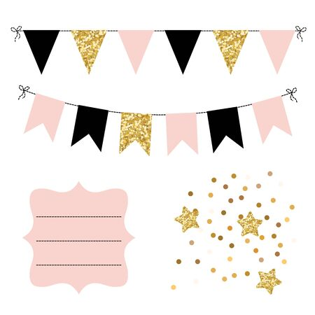 Set of golden, black and pink flags bunting, stars and curved frame.