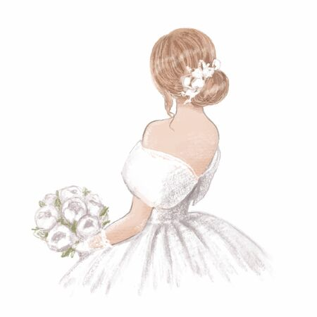 Beautiful bride with a bouquet of peonies. Hand drawn illustration in classic vintage style Ilustração