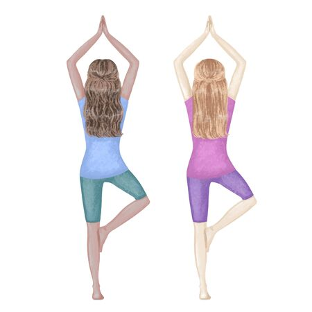 Two girls, dark-skinned and white, doing Yoga Tree pose. Hand drawn illustration 矢量图像