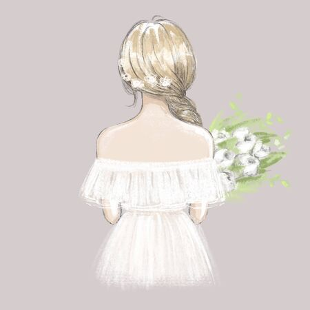 Cute girl, young woman, bride with a bouquet of peonies. Hand drawn illustration 矢量图像
