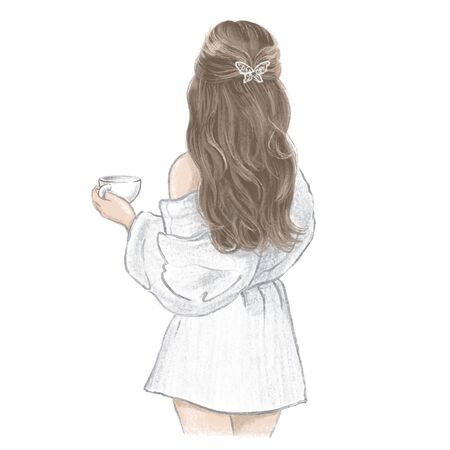 Girls Spa Day. Young woman in white bathrobe with a cup of tea, hand drawn illustration