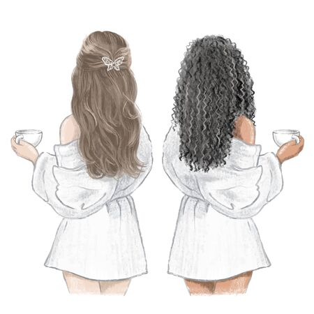 Girls Spa Day. Two friends in white bathrobes with cups of tea, hand drawn illustration 矢量图像