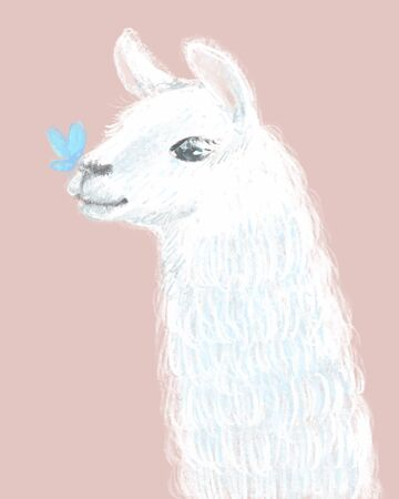 Cute and Fluffy Llama hand drawn illustration Banque d'images - 150042906