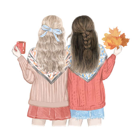 Two girls, best friends in the fall. Hand drawn illustration