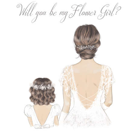 Bride and Flower Girl hand drawn illustration. Wedding card, invitation.