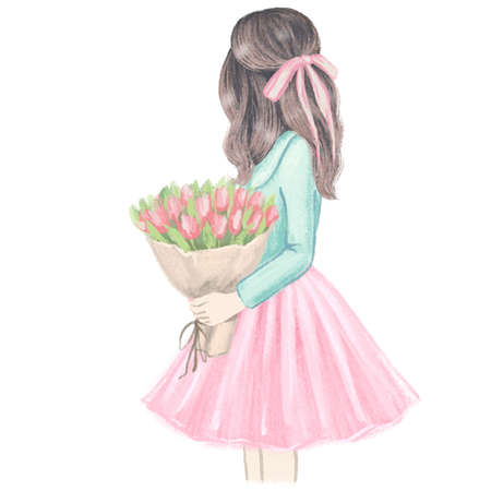 Girl with Tulips. Hand drawn fashion illustration