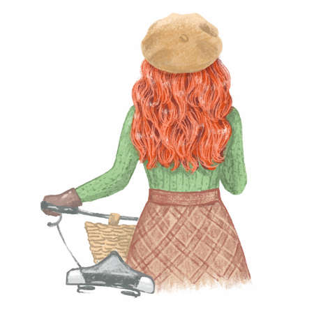 Red-haired girl with a bicycle in a Fall Archivio Fotografico