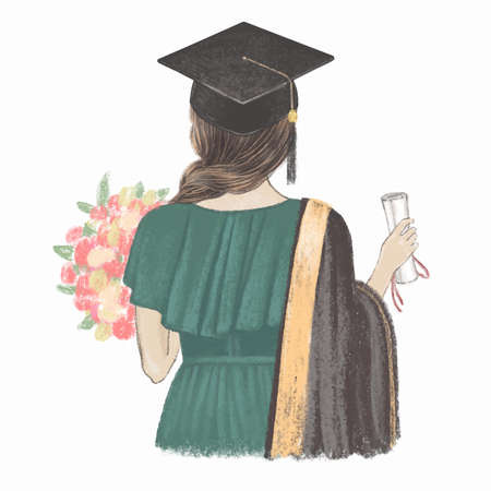 Graduated girl with certificate back view. Hand drawn illustration