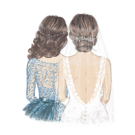 Bride in Veil and Maid of Honour. Hand drawn Illustration