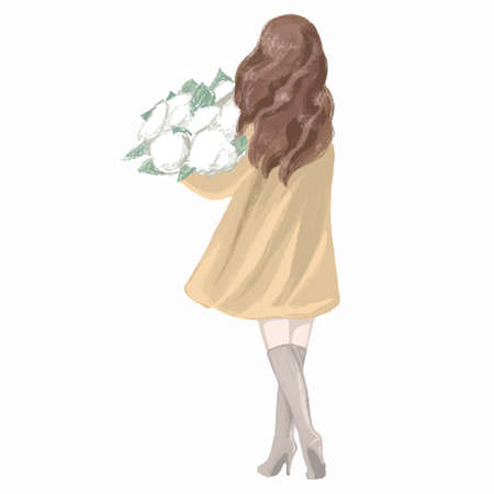 Spring Girl in a Coat hand drawn illustration Ilustração