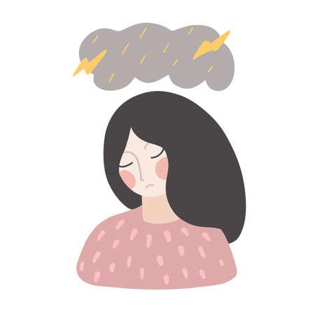 Mental disorder, depression, negative thoughts. Flat vector illustration Vektorové ilustrace