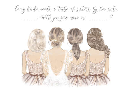 Bride with Bridesmaids in a line, hand drawn illustration Imagens
