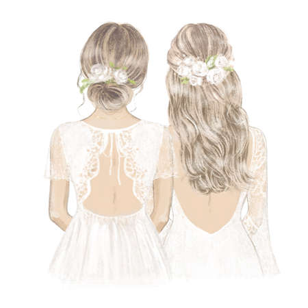 Bride and Bridesmaid with white roses in hair. Hand drawn Illustration