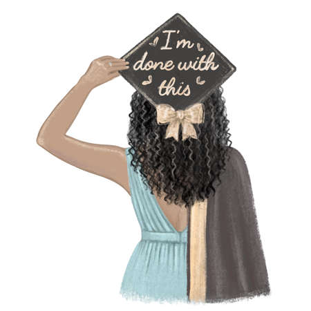 Black girl graduated, student in cap and gown. Hand drawn illustration
