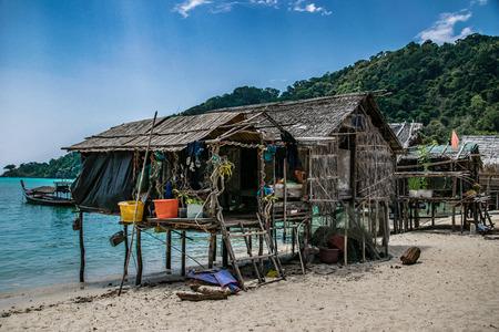 Moken Sea Village, 수린 섬, Pang Nga, 태국 스톡 콘텐츠