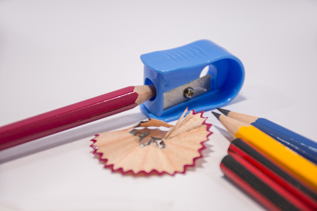 Pencil with sharpening shavings on white background,Students sharpen the pencil with a pencil sharpener Stok Fotoğraf
