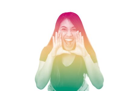 Young ethnic girl, shouting to camera with duotone multi coloured rainbow effect - Diverse millennial girl screaming isolated on white background with copy space - cbd, tropical and festival concept 版權商用圖片