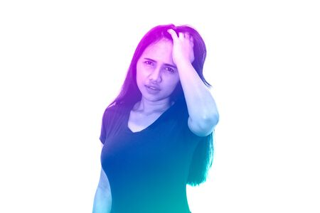 Diverse Asian woman with hand on head looking at camera isolated on white background - Duotone gradient rainbow effect of millennial girl with migraine headache - health, stress and lifestyle concept