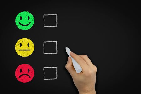 Customer service experience satisfaction rating chalk board with evaluation tick boxes - Red yellow and green happy ok sad doodle faces - Quality review, business analysis and client feedback concept
