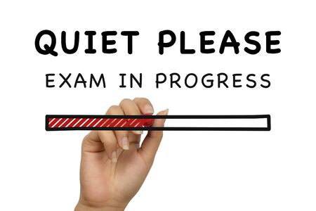 Quiet please exam in progress handwritten poster banner on white background with loading bar - Student examination school college university notice - Evaluation patient test doodle style sign concept