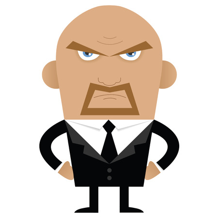 Angry bald and bearded man with terrorizing look.