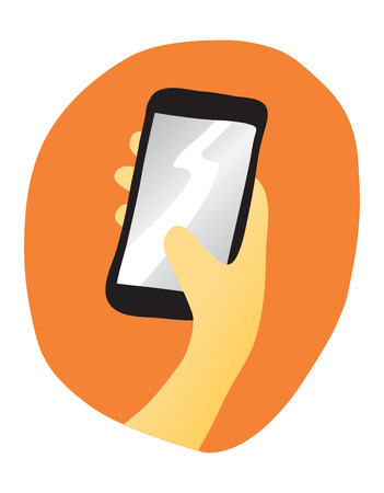 phone button: Mobile technology is the way to go! Illustration