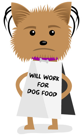 Funny hungry and homeless dog holding a sign  Illustration