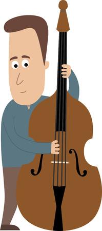 ダブル ベースを弾き男性ミュージシャン