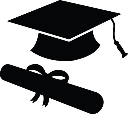 Graduation Cap and diploma in black silhouette, icon or symbol
