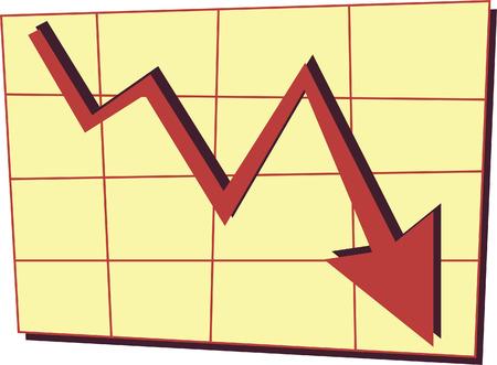 Wanneer de economie naar beneden gaat, doet dat uw bedrijf Stock Illustratie