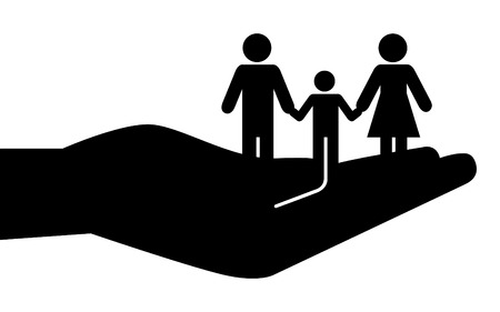 trip hazard: Father, mother and son held on palm of hands.  Illustration